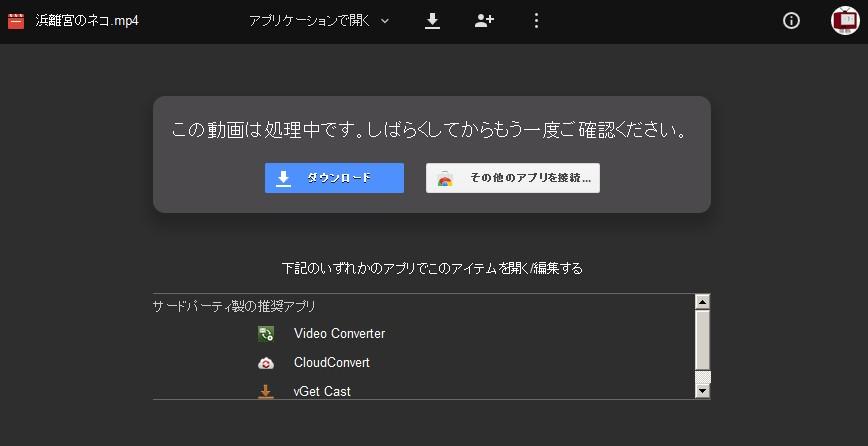 Googleドライブから動画をダウンロード