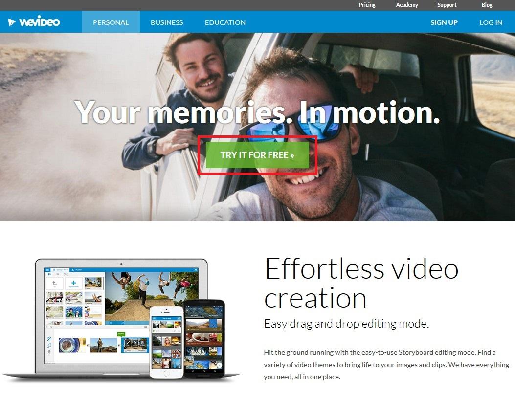 ブラウザで動画編集できる無料サービスWE VIDEOトップ