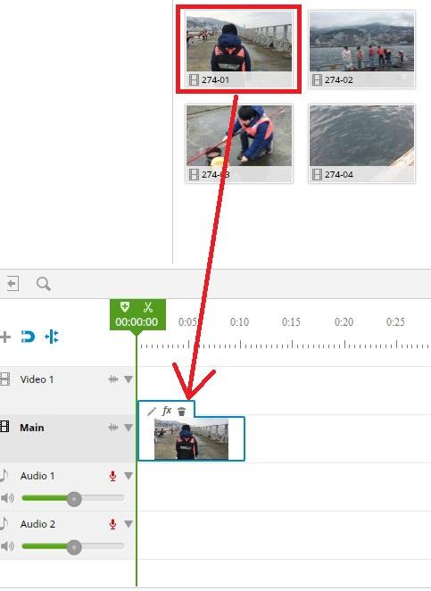 ブラウザで動画編集できる無料サービスWE VIDEO素材のタイムライン挿入