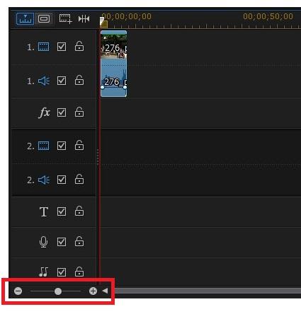 動画編集ソフト PowerDirector 14タイムラインの縮小拡大