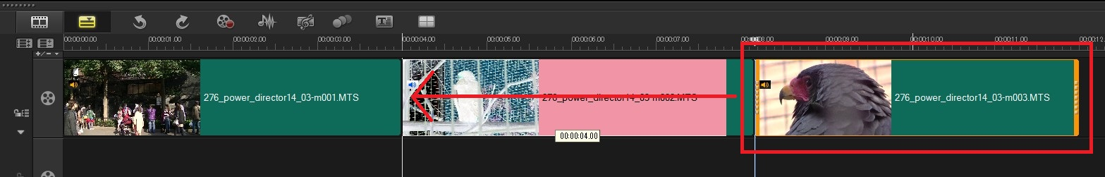 VideoStudio x9の使い方 タイムライン動画の位置を入れ替える方法