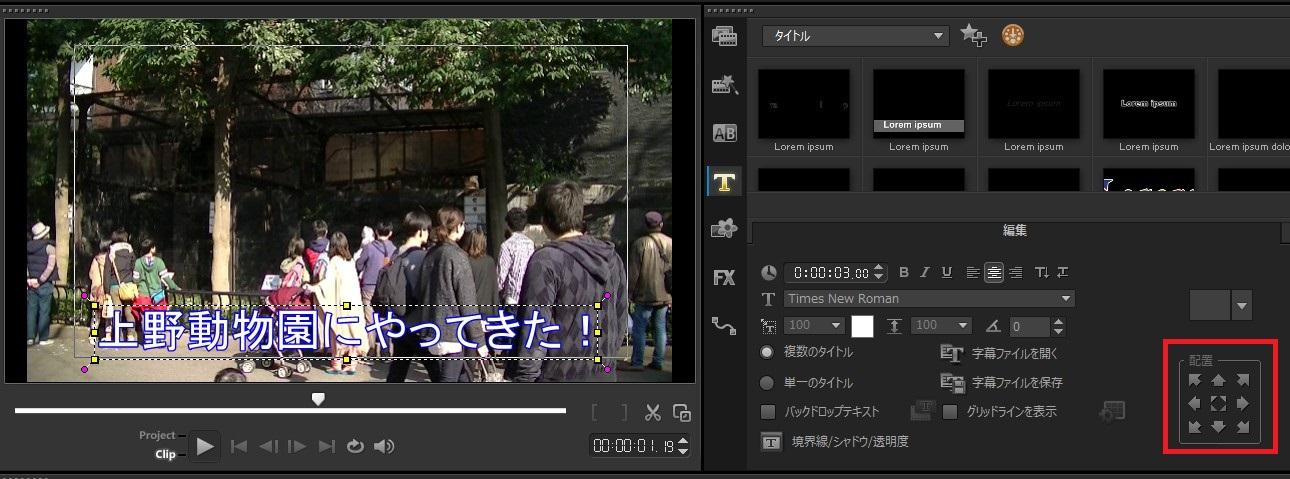 VideoStudio x9の使い方 タイトル(テキスト・テロップ)入れる方法 テキストの配置