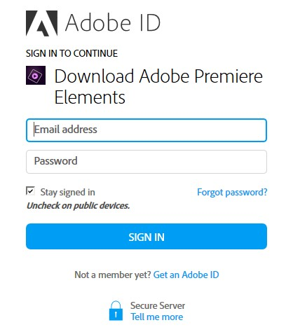 Adobe Premiere Elements14 Adobe IDの入力
