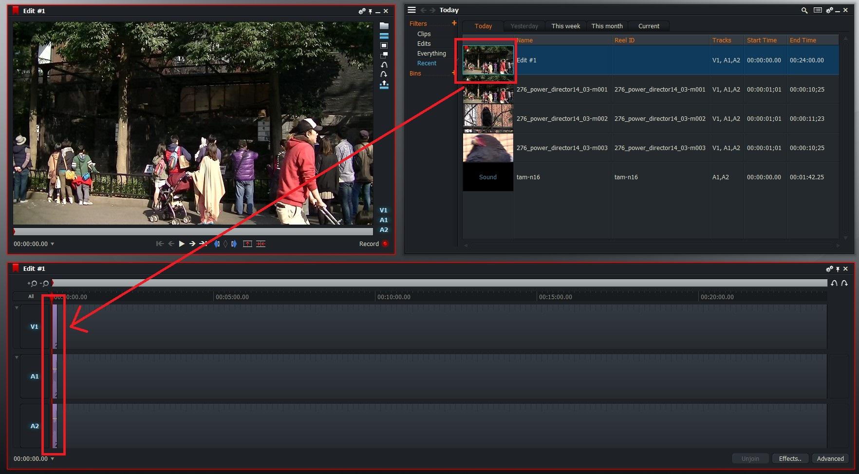 動画ファイルのタイムライン挿入  Lightworksの使い方