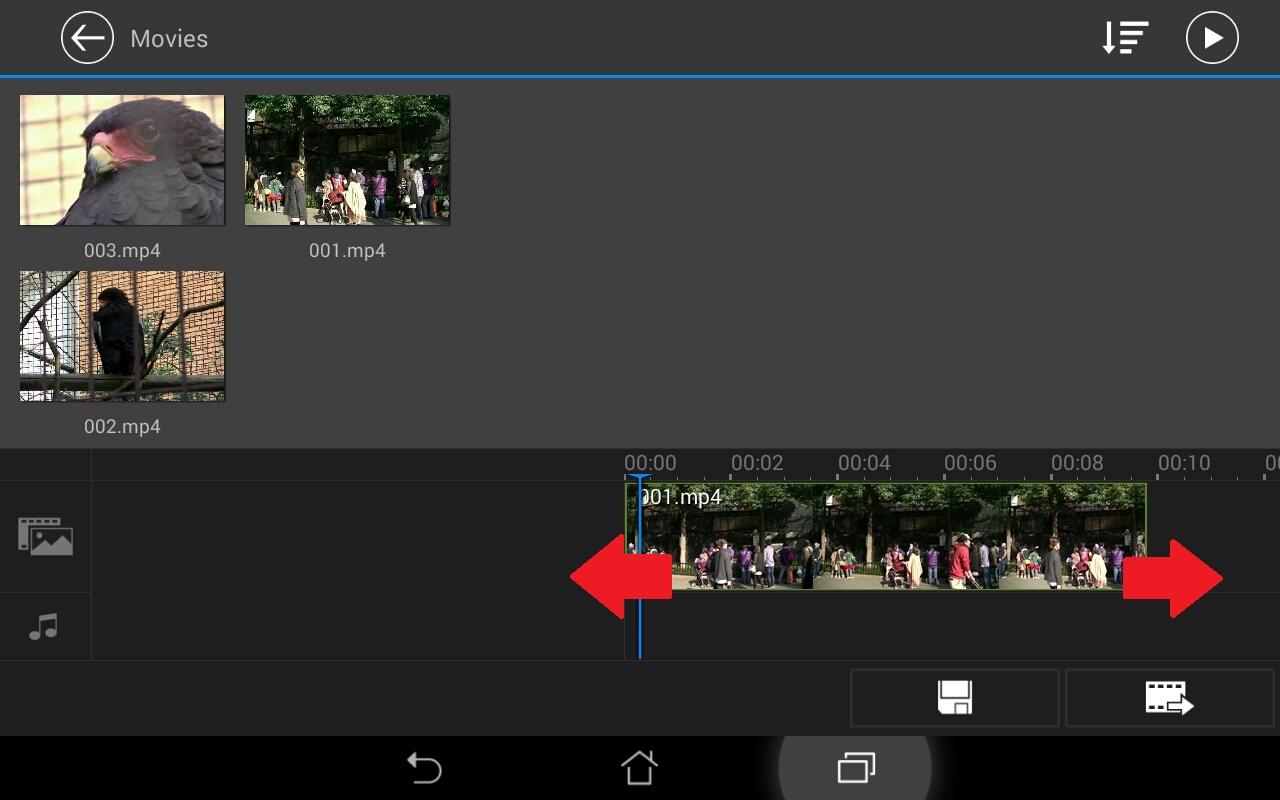 タイムラインの拡大・縮小方法 無料動画編集アプリPowerDirector