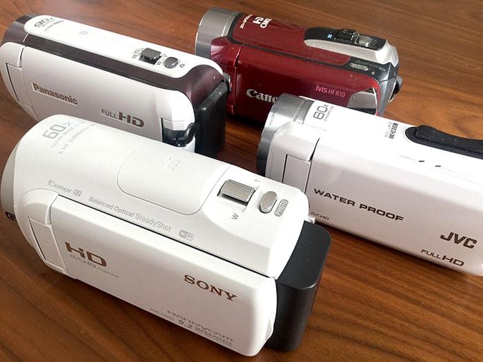 各メーカーの家庭用ビデオカメラ