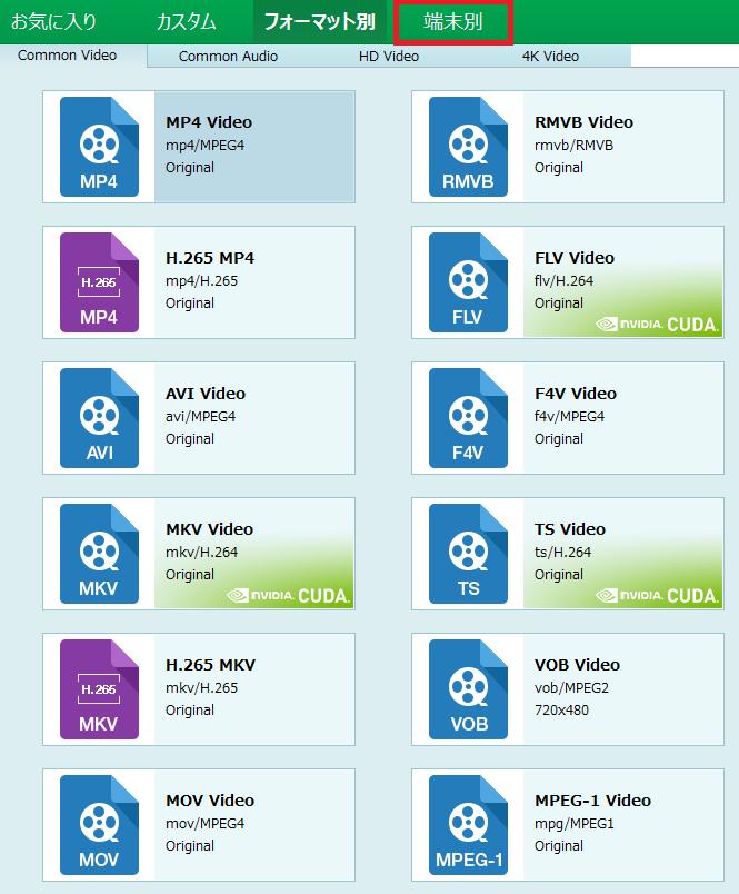 Prof. MediaでDVD/Blu-rayの変換形式一覧