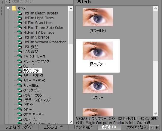 動画編集ソフトVegas Pro(ベガスプロ)エフェクト