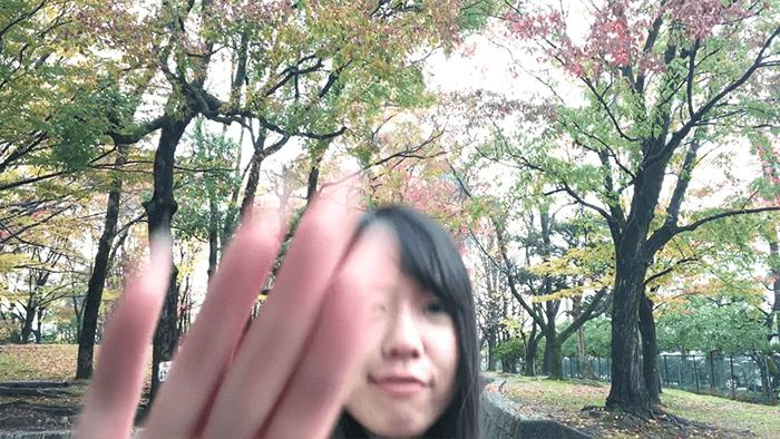 動画のオリジナル切り替えトランジション効果の作例 手で遮る