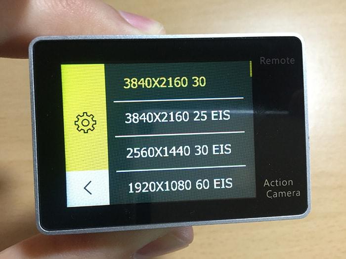 アクションカメラEKEN H6s ムービーサイズの変更