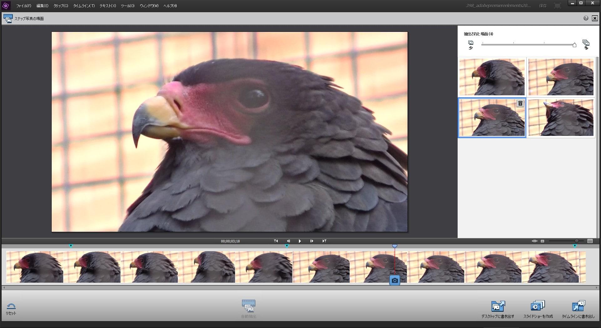 Adobe Premiere Elements2018 動画から写真を自動抽出