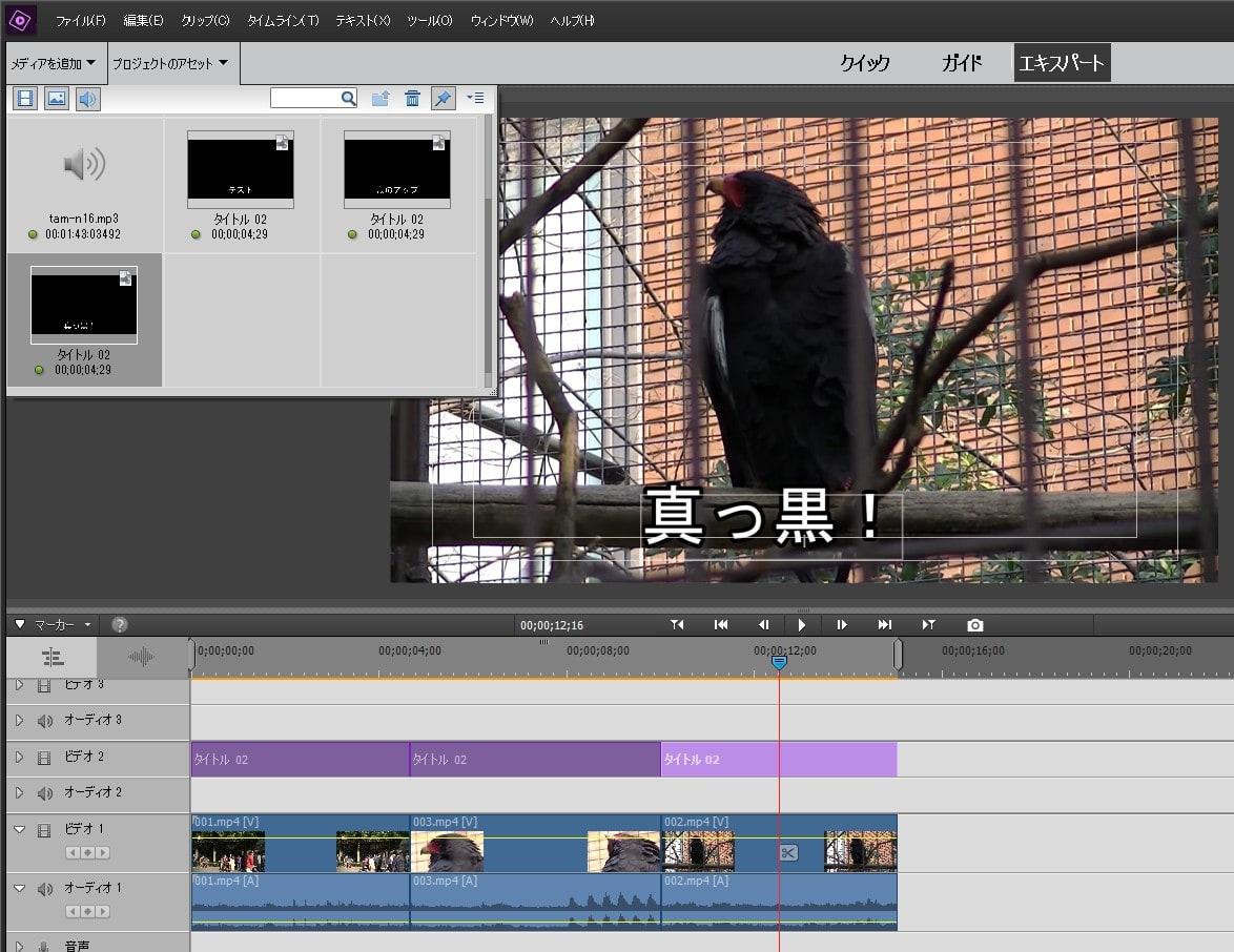 Adobe Premiere Elements2018 テキストテロップをコピー&ペーストする方法