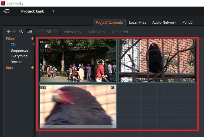 動画編集ソフトLightworks14 動画ファイルをプロジェクトに読み込む