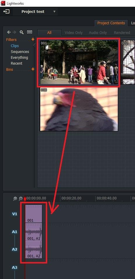 動画編集ソフトLightworks14 動画ファイルをタイムラインに挿入する方法