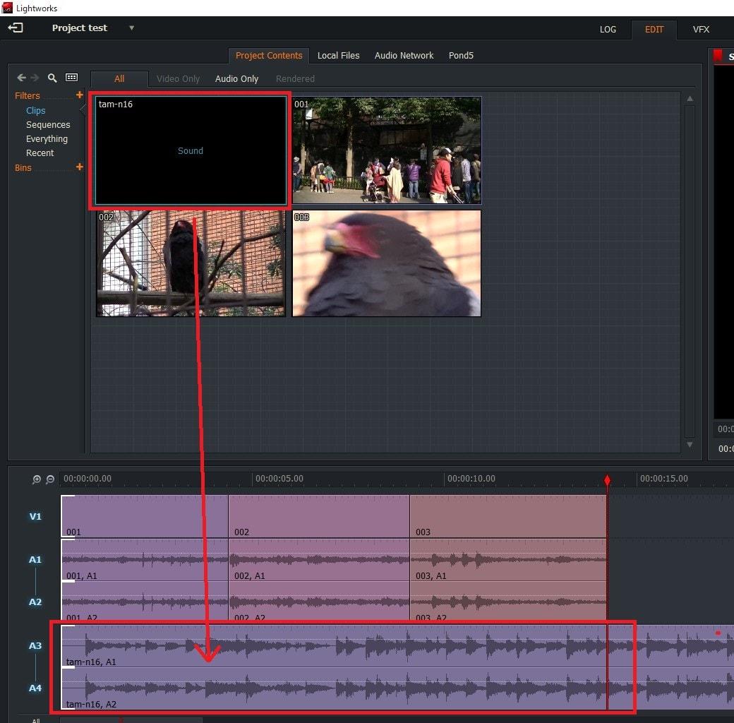 動画編集ソフトLightworks14 BGM音楽ファイルをタイムラインに読み込む方法