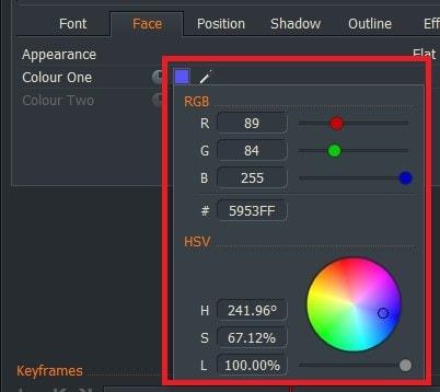 動画編集ソフトLightworks14 テキストテロップタイトルの色を変更する方法Face