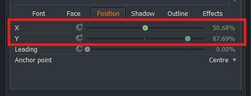 動画編集ソフトLightworks14 テキストテロップタイトルの位置を変更する方法Face