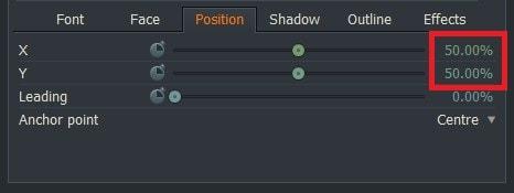 動画編集ソフトLightworks14 テキストテロップタイトルの位置を変更する方法Position