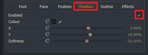動画編集ソフトLightworks14 テキストテロップタイトルに影を追加する方法Shadow