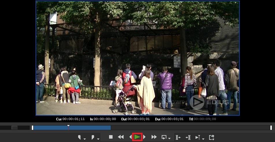 動画編集ソフトEDIUS Pro 9 タイムラインの動画を再生する方法