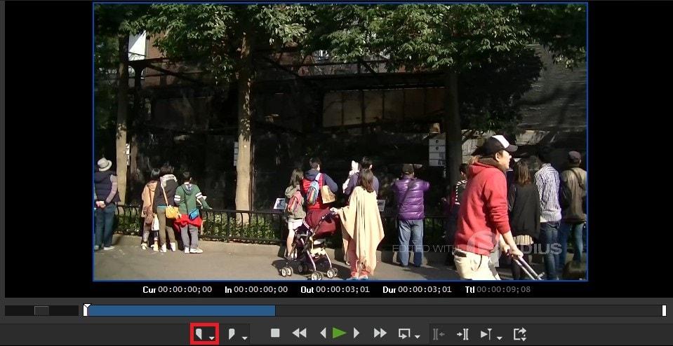 動画編集ソフトEDIUS Pro 9 タイムラインのインポイントの設定方法
