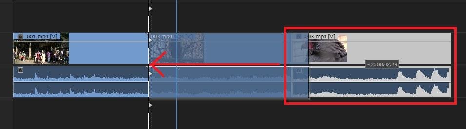 動画編集ソフトAdobe Premiere Pro CC タイムライン内の動画ファイルの位置を変更する方法