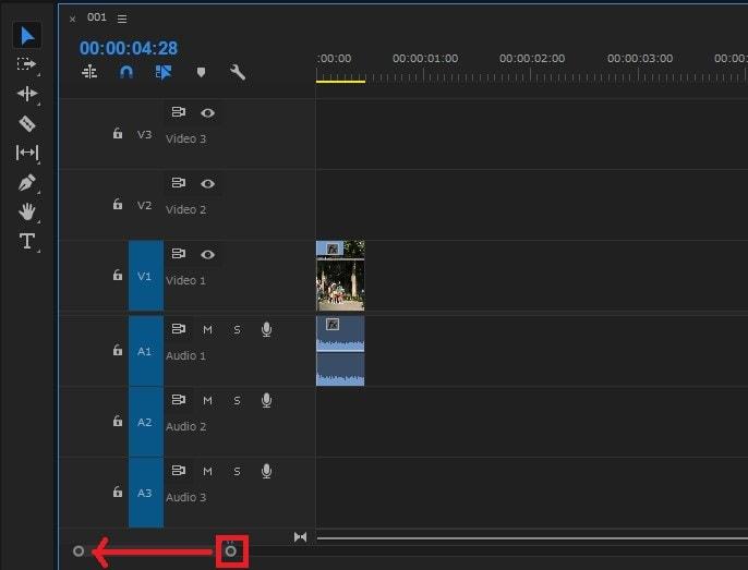 動画編集ソフトAdobe Premiere Pro CC タイムラインの拡大・縮小ボタン