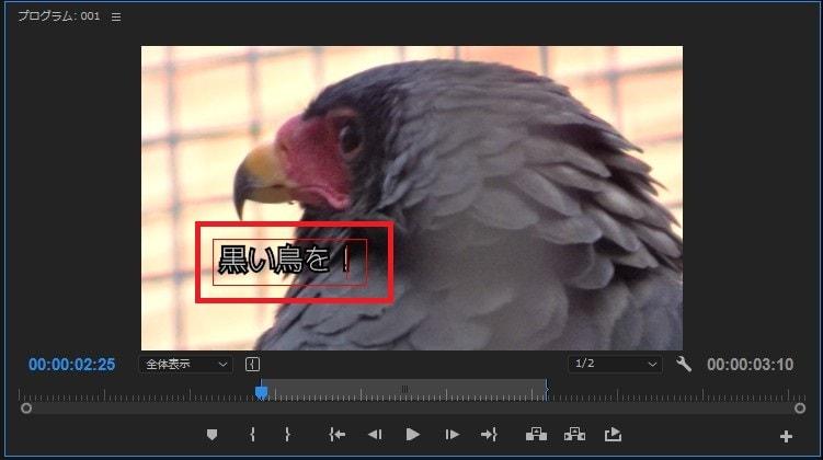 動画編集ソフトAdobe Premiere Pro CC テキストテロップ(タイトル)の新規作成方法 横書き文字ツールでプログラムモニターをクリック