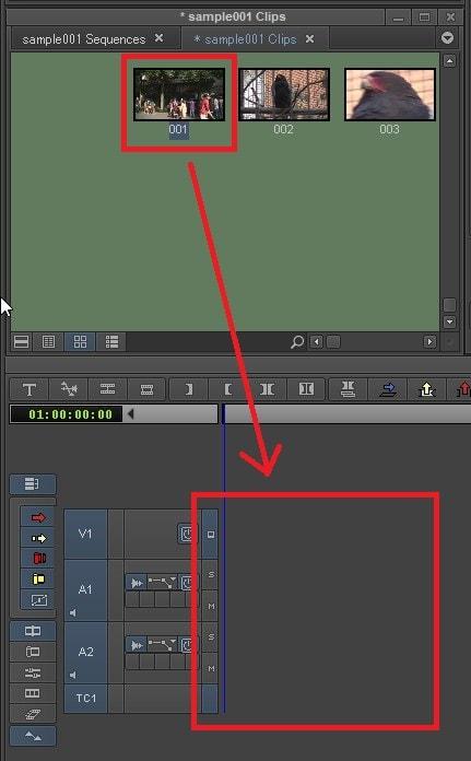 動画ファイルをタイムラインに取り込む方法 動画編集ソフトAvid Media Composer