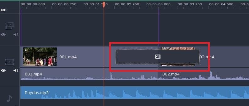 トランジションを挿入する方法 動画編集ソフトMovavi Video Editor