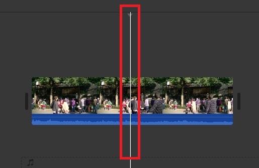 タイムライン内の動画を分割する位置 動画編集ソフトiMovie'13(ver10)