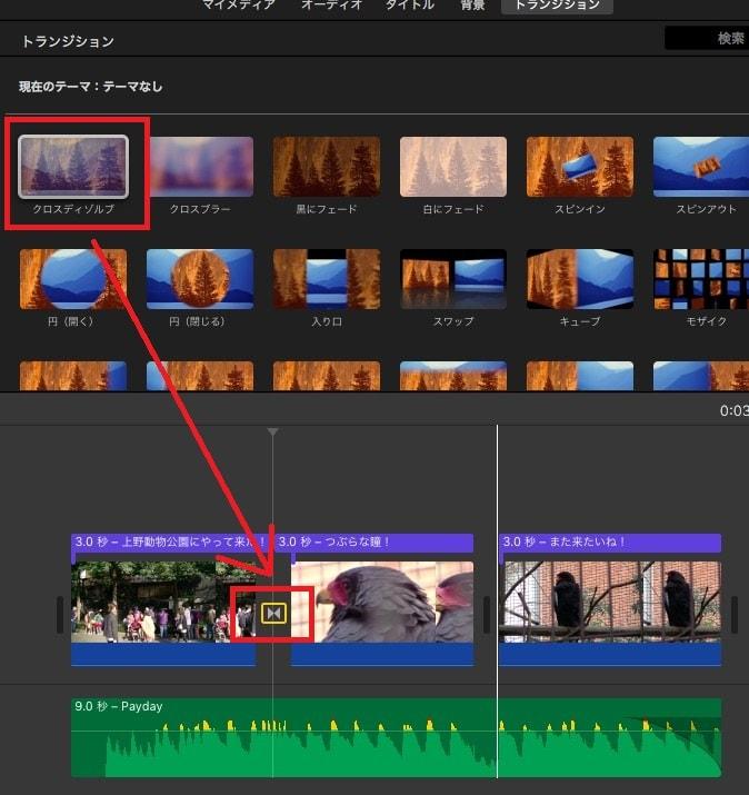 トランジション効果を挿入する方法  動画編集ソフトiMovie'13(ver10)