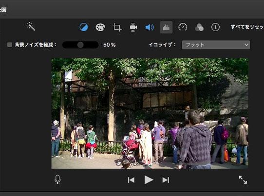 ノイズリダクションおよびイコライザ画面  動画編集ソフトiMovie'13(ver10)