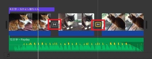 タイムラインの全ての写真間にトランジションを挿入 動画編集ソフトiMovie'13(ver10)