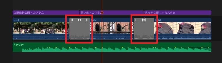 トランジションの挿入 動画編集ソフトFinal Cut Pro X