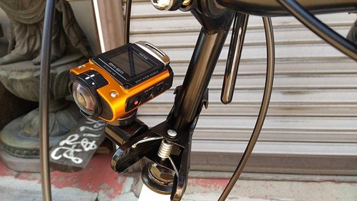 RICOH WG-M2を自転車に搭載 アクションカメラ