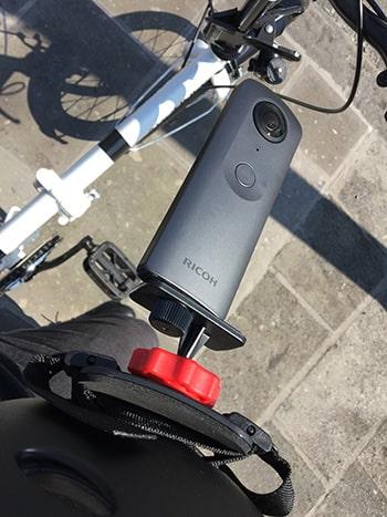 RICOH THETA(シータ) Vを自転車に付けて360度撮影