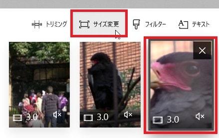 サイズ変更ボタン 動画編集ソフトMicroSoftフォト