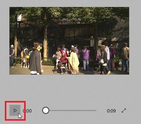 タイムライン内の動画ファイルを再生する方法 動画編集ソフトMicroSoftフォト