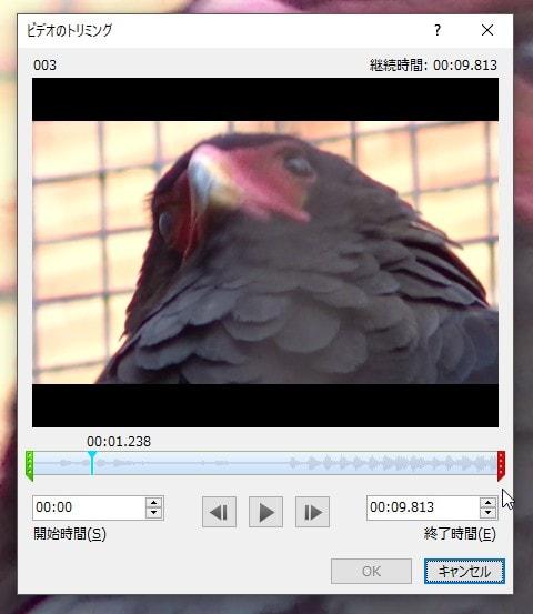 ビデオのトリミング画面 PowerPointで動画を作る方法