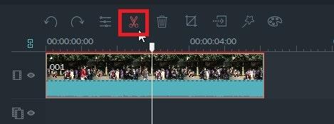 動画編集ソフト Filmora(フィモーラ) 動画ファイルの分割方法ハサミマーク