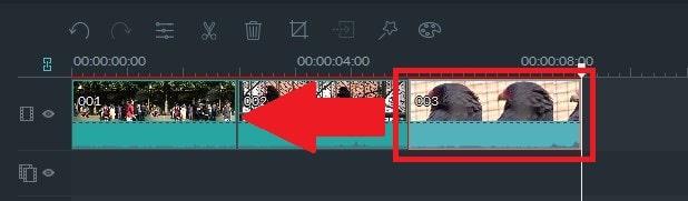 動画編集ソフト Filmora(フィモーラ) メディアファイルの位置移動