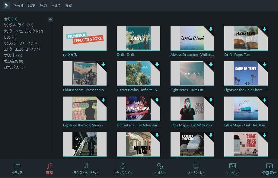 動画編集ソフト Filmora(フィモーラ) 動画ファイルの音楽一覧