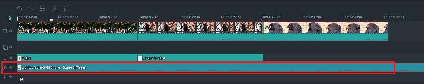 動画編集ソフト Filmora(フィモーラ) 動画ファイルの音楽のタイムラインへの挿入