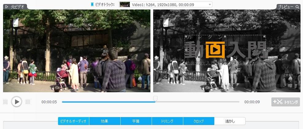 透かし 画面 動画変換・編集ソフトVideoProc