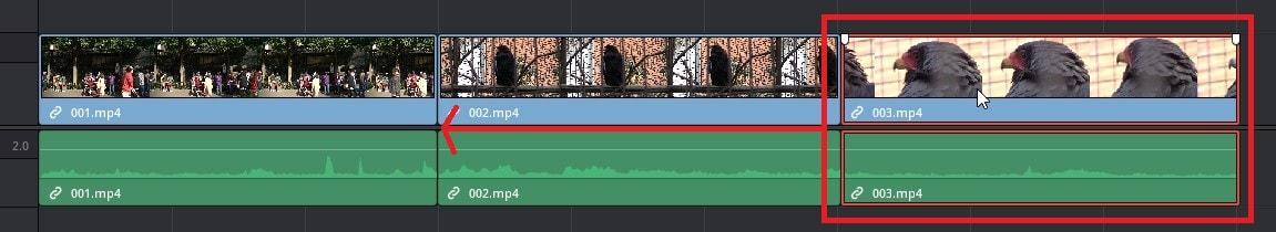 動画を移動させる方法 DaVinci Resolve動画編集ソフト