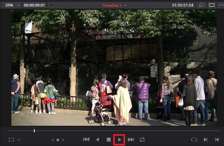 動画をプレビュー再生する方法 DaVinci Resolve動画編集ソフト
