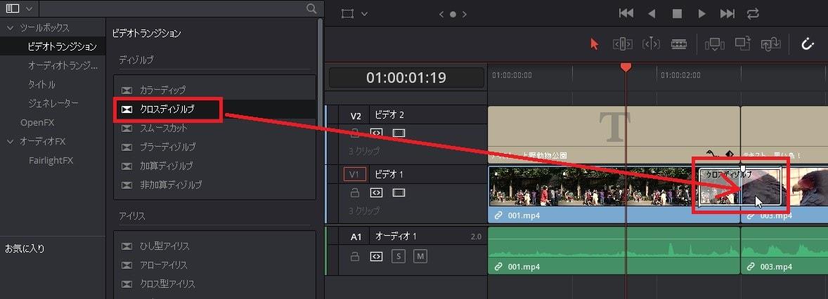 ビデオトランジションをタイムラインに挿入する方法 DaVinci Resolve動画編集ソフト