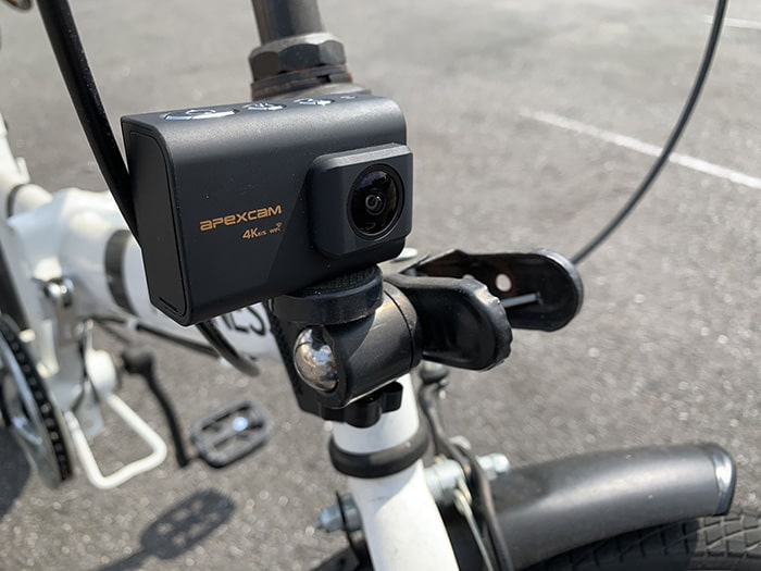 Apexcam M80クリップマウント自転車撮影