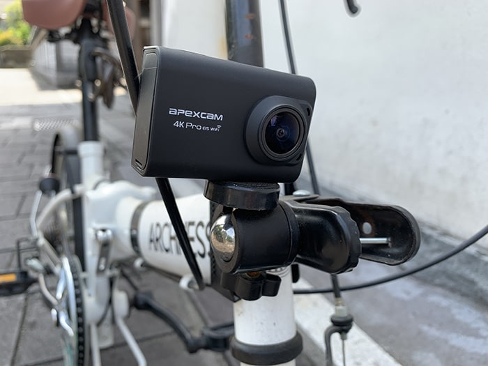 Apexcam proをクリップマウントで自転車に固定